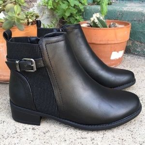 Shoes - ANKLE BUCKLE FAUX LEATHER BOOTIES